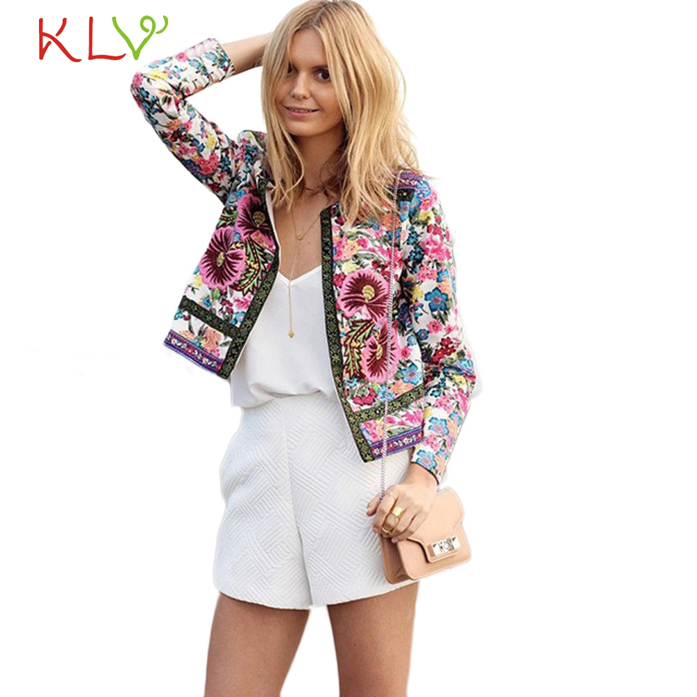 2017Women Floral Printed Short Jacket Long Sleeve Open stitch Cardigans bomber jacket Ou ...