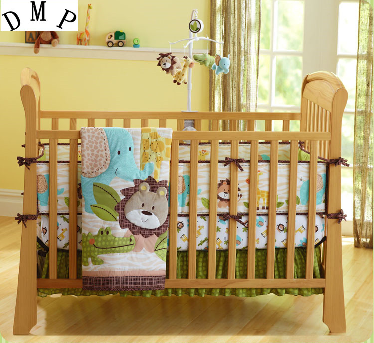 Promotion! 7pcs Embroidery Lion Baby Cot Bedding Sets ,include (bumpers+duvet+bed cover+bed skirt) botanical embroidery zip back skirt