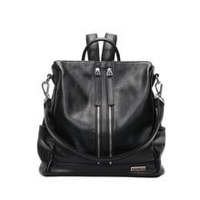 Mtghafikqbs искусственная кожа женщины рюкзак сумки на плечо на молнии Черный Многофункциональный рюкзак большой Ёмкость Mochila D1