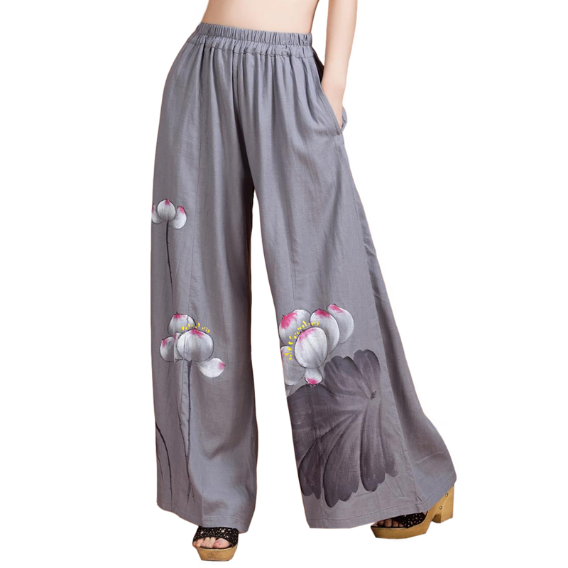 Gray hand painted Women Full Length Pant Chinese Novelty Floral Pockets Trousers Loose Cotton Linen Wide