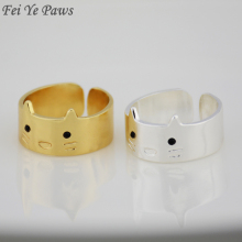 Fei Ye Paws Mid Finger Boho Chic Hello Kitty Wedding Ring Hippie Brass  Knuckle Animal Cat
