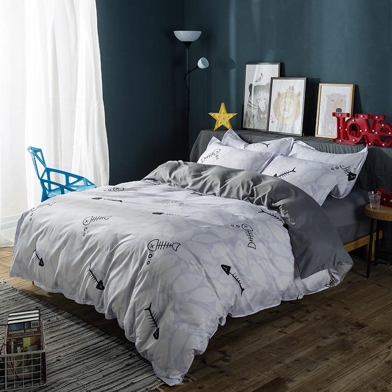 Cartoon Modern Gray White Fish Bone Print Pattern Home Bedding Warm&Comfort Queen/ Extra Large 4pcs Set Quilt Bedding Pillowcase