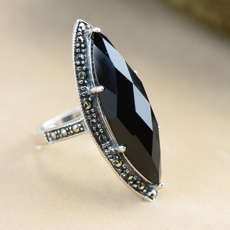 Garanti argent 925 bague Antique bagues pour femmes losange Agate noire pierre naturelle bijoux fins Anillos Mujer - 5