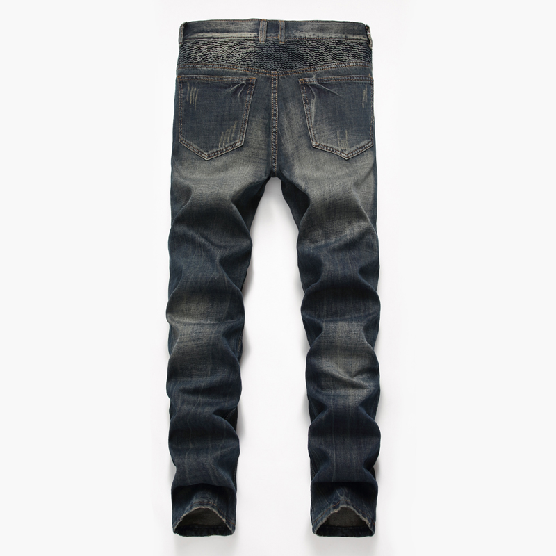 NIBESSER Brand Nostalgia Retro Holes Jeans Men Fashion Folds Denim Zipper Pants Beggar Pants Plus Size Slim Male Workout Trouser