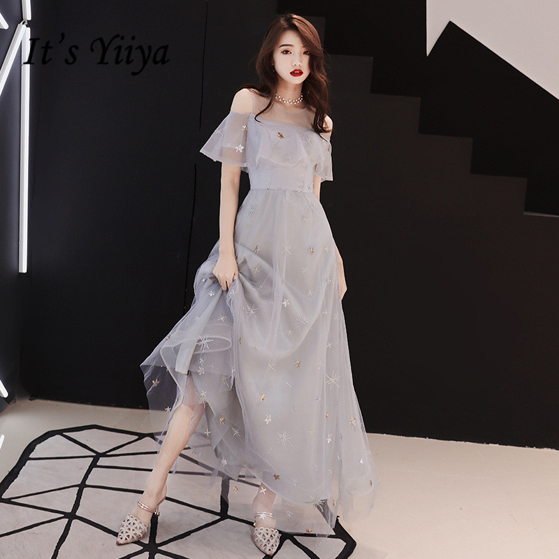 It's YiiYa   Evening     Dress   Full Stars Pattern Shining Gray Formal   Dresses   Sexy Off Shoulder Ruffles Party Gown E074