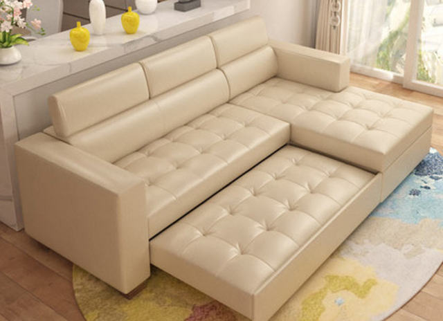 Leather Sofa Bed w/ Storage 3