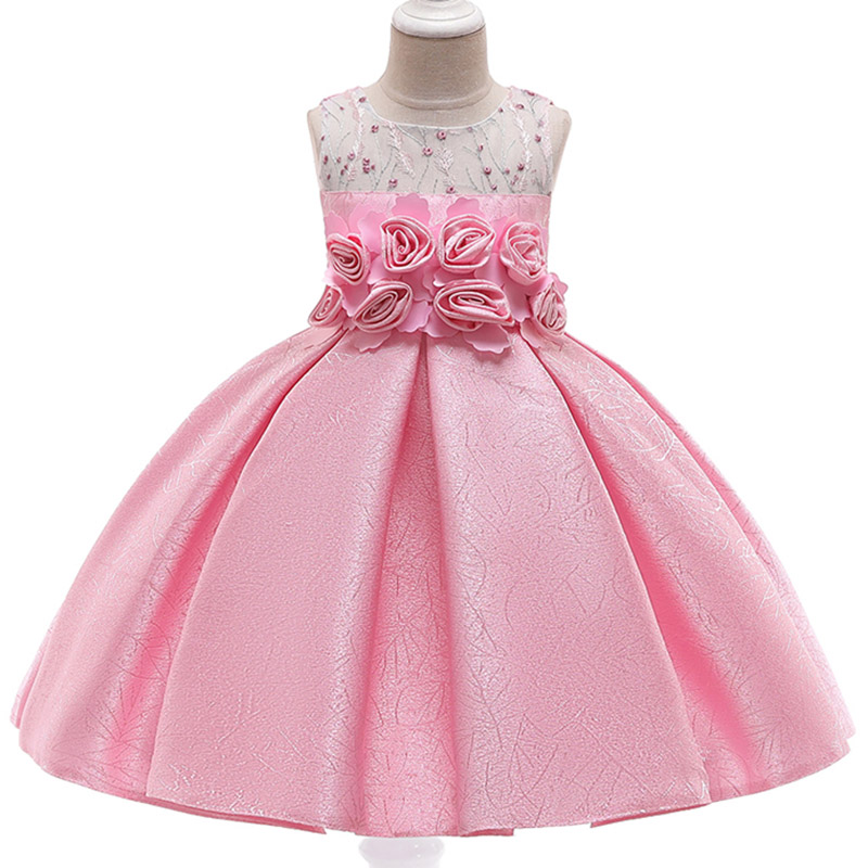 2019 High Quality Puffy Sleeves Girls Evening Party Dress Children Elegant Pearl Beading Flower Girls Dress Vestido Comunion