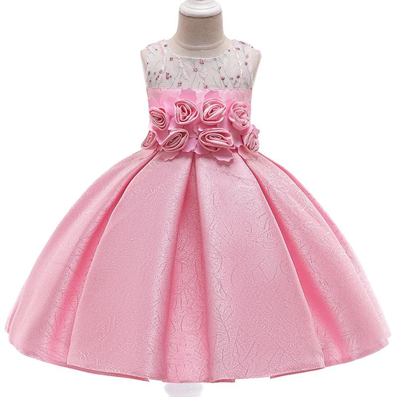 2019 High Quality Puffy Sleeves   Girls   Evening Party   Dress   Children Elegant Pearl Beading   Flower     Girls     Dress   Vestido Comunion