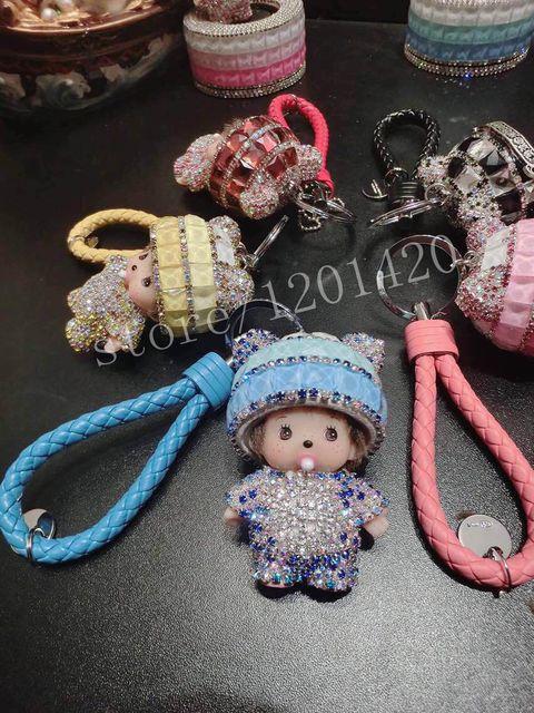 6 color Cute Crystal Rhinestone Mon chichi Dolls Key chain Car Leather Key ring Creative Handbag Charm