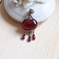 Real Pure 925 Silver Pendant For Women With Natural Garnet Stones Water Drop Vintage Crystal Pendant Bisuteria
