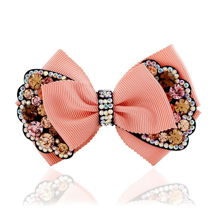 2017New Fashion women hairclips vintage hair accessories crystal hairbands colorful Rhinestone bow hairclips Free Shipping