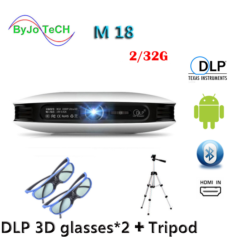 ByJoTeCH M18 projecteur 2G 32G 3D lunettes trépied 3D Android WIFI Proyector 4 K Beamer AirPlay Miracast batterie intégrée Vs dlp800w