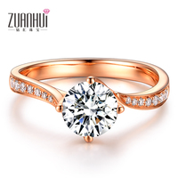 ZUANHUI 다이아몬드 보석 정품 18 천개 레드 골드 0.2ct 다이아몬드 결혼 반지
