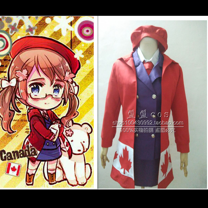 hot sale japan axis powers hetalia meg williams canada cosplay costume full sets uniform women halloween costumes - Sale Halloween Costumes