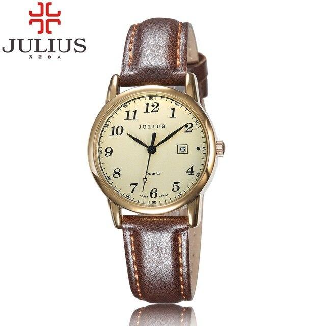 2017 JULIUS под старину Календари цифрами Для мужчин Для женщин дамы кварцевые часы Ретро Повседневное наручные Relogio feminino для девочек подарок на день рождения