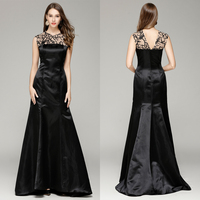 New 2018 Long Formal Ball Gown Evening Party Celebrity Dresses Scoop Neck Sleeveless Mermaid Satin Black