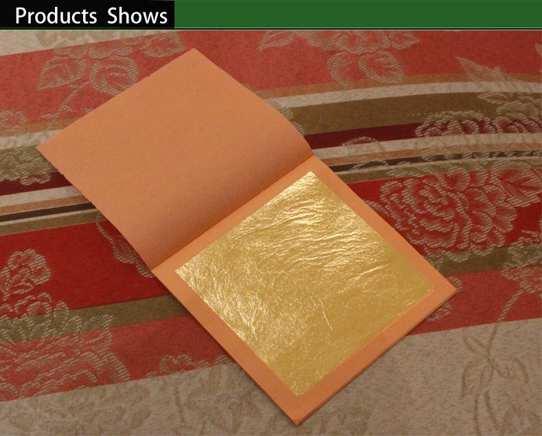 25 Leaves / Per Booklet Foil, 22K Pure Genuine Edible Gold Leaf Sheet 92% Gold Good Quality,  8 X 8cm  Free Shipping