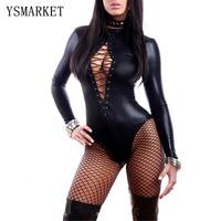 Mujeres de Cuero Negro Sexy Body Lencería Erótica Leotardo Trajes De Goma Flexible Hot Sexy Latex Catsuit Costume Catwomen 3263