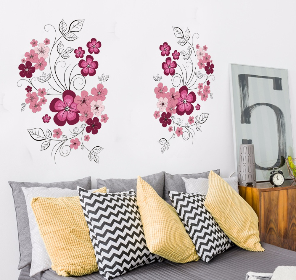 Free Shipping Removable Vinyl Wall Stickers Flowers Living Room TV Sofa Background Home Decoration Wall Decals 60 90cm JM7151 in Wall Stickers from Home Garden