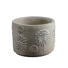 Concrete Flowerpot Silicone Mold Round with Embossed Pattern Cement Vase Mould Pen Barrel Desktop Decoration Tool