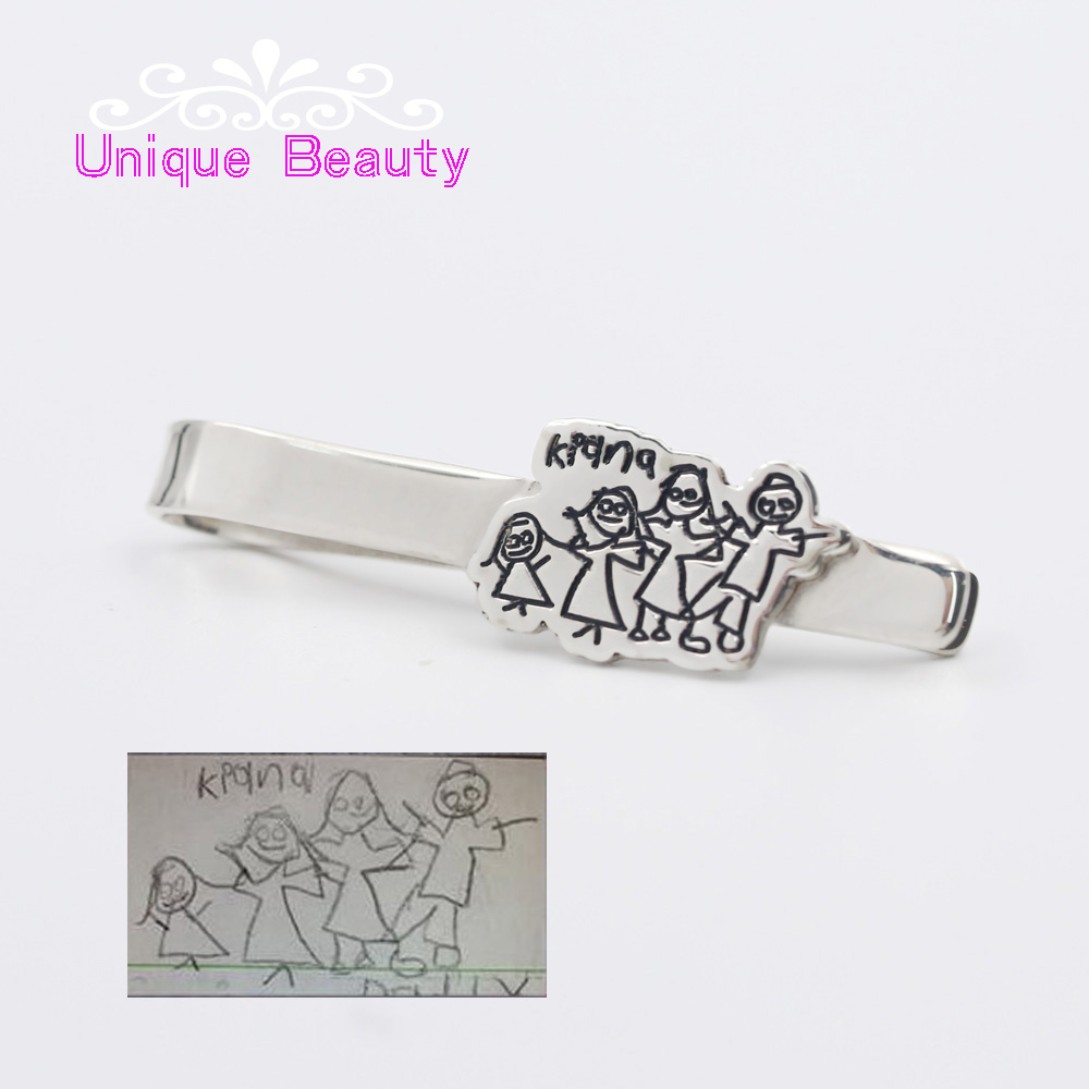 925 Silver Tie Clip Personalized Engrave Kids Drawing for Father Custom Gift Memorial Family Gift Men