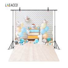 Laeacco Cute Stars Balloons 1 år gammel Brithday Baby Photography Bakgrunn Vinyl Custom Photo Backdrops Props For Photo Studio