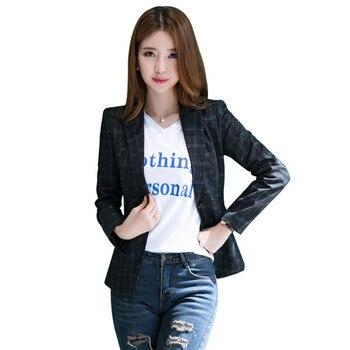 Fmasuth 4XL Plus Size Plaid Jacket Blazer Winter Full Sleeve Single Button Mujer Femme Jacket Women LSF-1882YJ jeans con blazer mujer