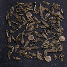 20pcs Vintage Metal Antique Bronze Mix Size/Style Leaf Flower Charms Plant Pendant for Jewelry Making Diy Handmade