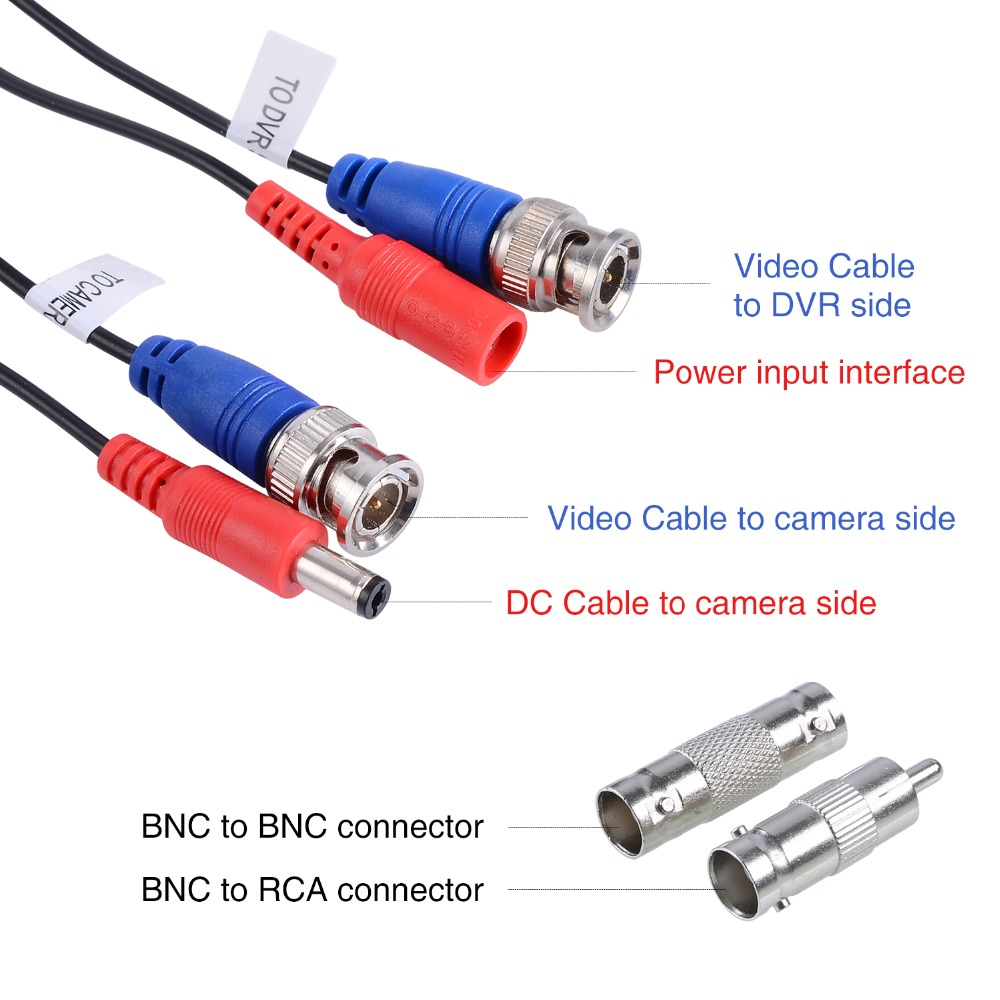 Image 3 - MOVOLS 4PC 30m 100ft CCTV Cable BNC & DC Plug Video Power Cable for Wired AHD Camera DVR Video Surveillance System Accessories-in Transmission & Cables from Security & Protection