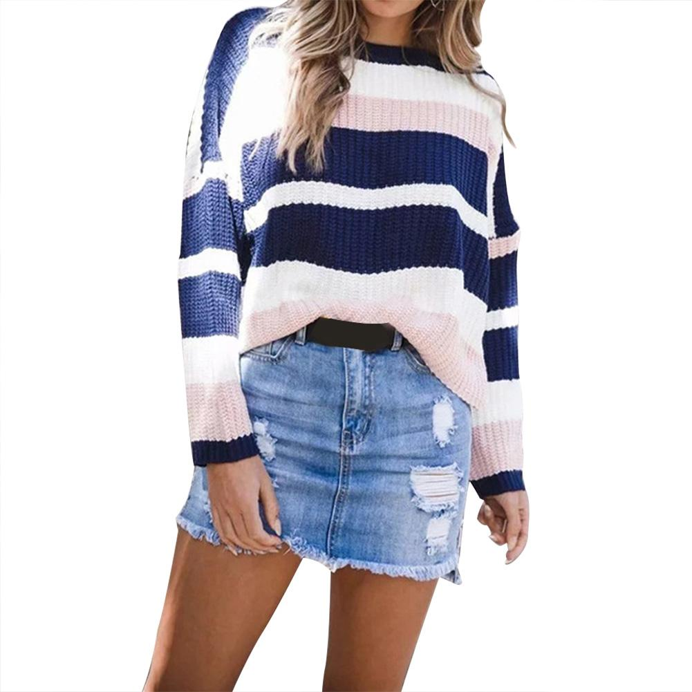 2018 Winter Clothes Women Round Neck Long Sleeve Piecing Colorful Stripes Loose Sweater Top Female Casual Rainbow Thick Sweater