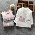 2016 Осенью и Зимой Вскользь Gilrs Мальчики Детские Дети Детей, детские Длинными рукавами Лук Симпатичные Теплый Принцесса Рубашки