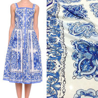 80X145cm Fashion Week Runway Majolica Blue and White Porcelain Chiffon Fabric for Woman Girl Summer Long Beach Dress DIY-AF241