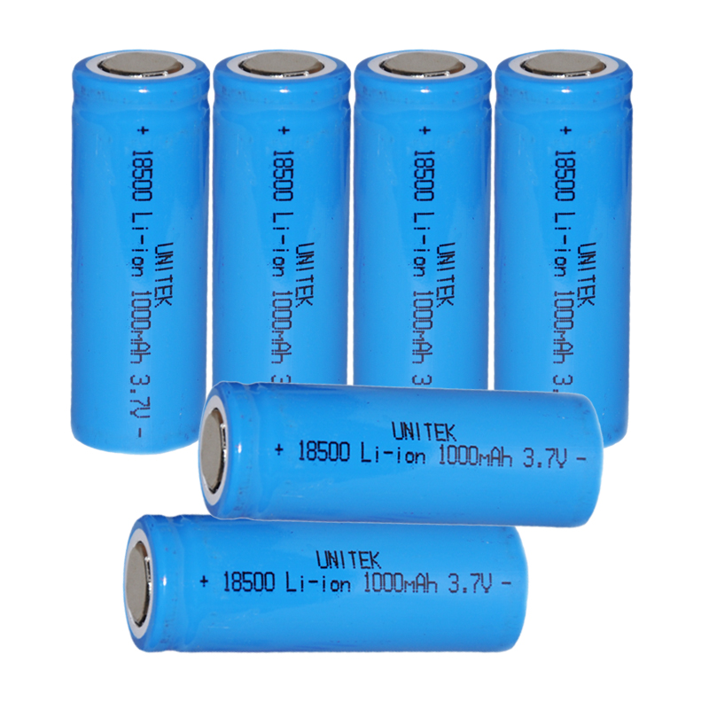 6PCS UNITEK 3.7v 18500 battery 1000mah rechargeable Li ion lithium cell for  led flashlight torch and speaker-in Rechargeable Batteries from Consumer ...