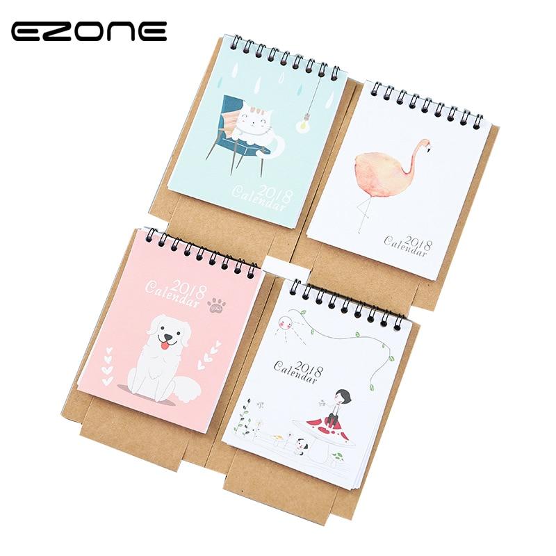 EZONE 1PC Cartoon Characters 2018 Desk Calendar Lovely Creative Paper Calendar Planner Book Kawaii Stationery  Office Supplies