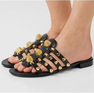 2017 Party Beach Dress Shoes Women High Quality Flat Studded Caged Slide Sandals Rivets Embellished Plus Size 42 In S From