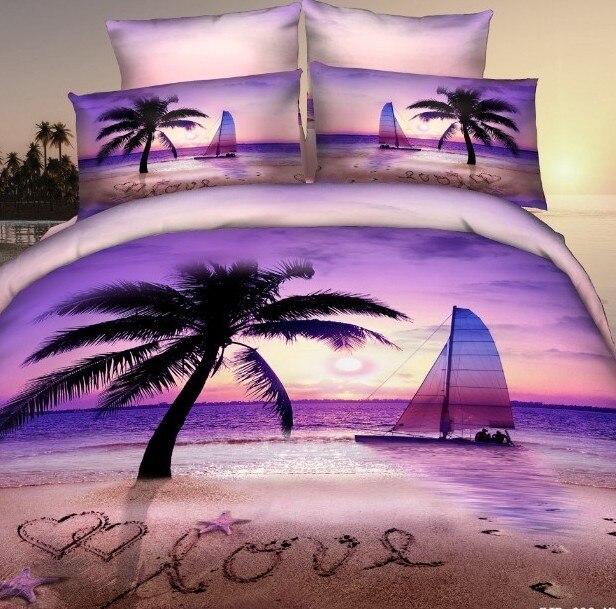 Purple Beach Palm Tree Bedding Set For Queen Size Duvet