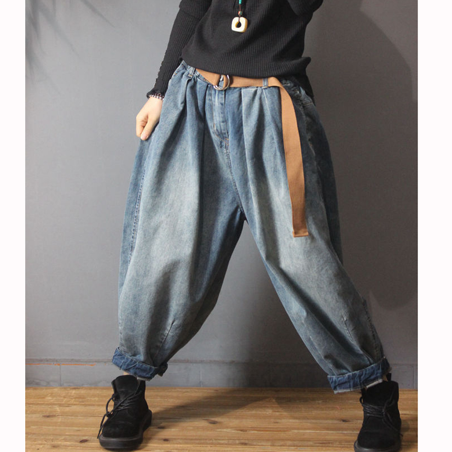 Wide Leg Bottom   Jeans   Denim Straight Pants Trousers for Women Distressed Big Size Loose Retro Vintage Casual Fashion 91019