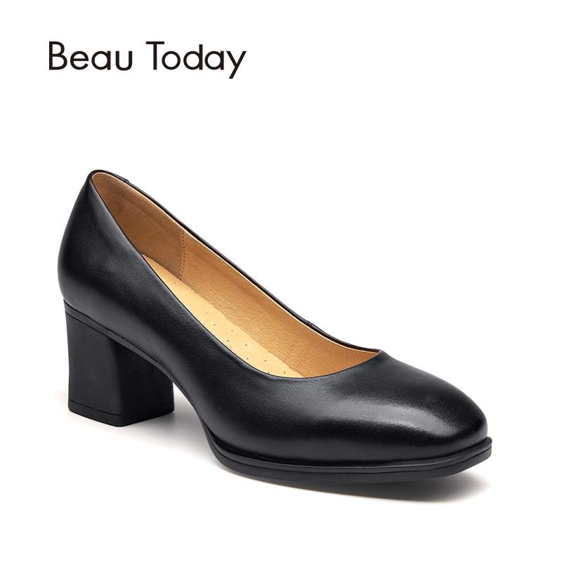 BeauToday női szivattyúk valódi tehén bőr csúszás a négyzet lábujj magas sarkú kézzel készített irodai női ruha ruha hajó cipő 15024