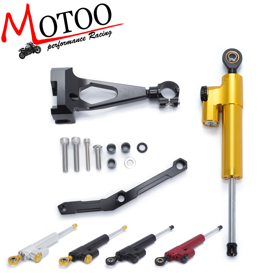 Motoo - FREE SHIPPING For Yamaha MT09 MT-09 FZ-09 2013-2017 Motorcycle Aluminium Steering Stabilizer Damper Mounting Bracket Kit new red motorcycle steering damper stabilizer with mounting bracket kit for yamaha mt09 mt 09 fz 09 2014 2015 2016