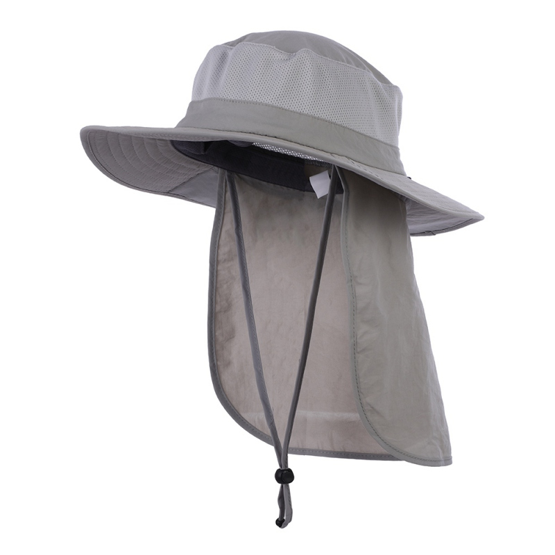ef26ea97 2018 Outdoor Hiking Cap Visor Hat Neck Face Flap Hat Wide Brim Buckle  Camping UV Protection Face Neck Cover Fishing-in Fishing Caps from Sports  ...