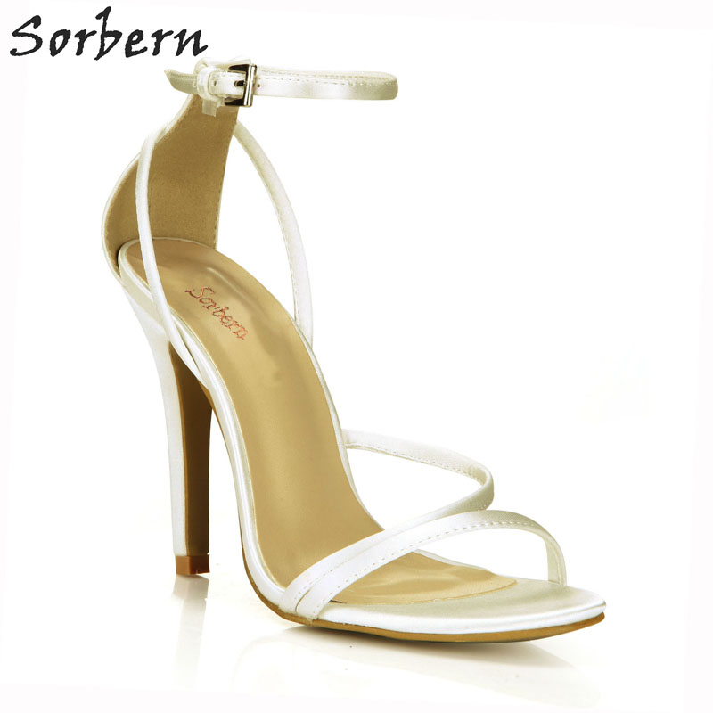2018 Sorbern Stiletto elfenbein Color Sandalen Designer custom Seide Frauen Crossdressed Schuhe High Damen Runway Elfenbein Luxus Heels Schwarzes qgCqU