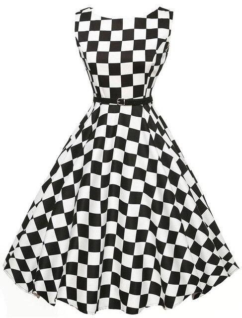 women black white plaid 50s dresses 2017 female elegant vintage pinup audrey hepburn style 60s gown