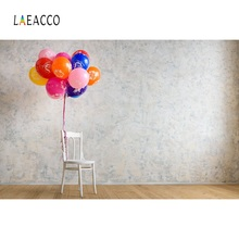 Laeacco Colorful Balloons Cement Wall Chair Birthday Party Interior Photo Backgrounds Photography Backdrops For Studio