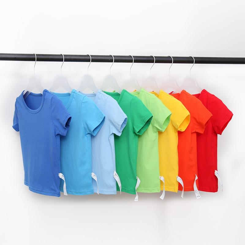 VIDMID Kids T-shirt Tops Baby Boy Cotton Short Sleeve Tops Girls Children Cartoon Basic Color Clothes Boys Girls Tees 4018 29