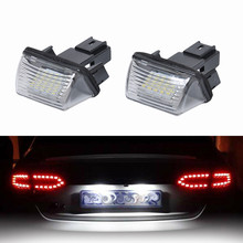 Direct Replacement Of White 2X  2.24W 14V LED License Plate Lights For Peugeot Citroen For Peugeot Citroen C3 C4 C5 Peugeot