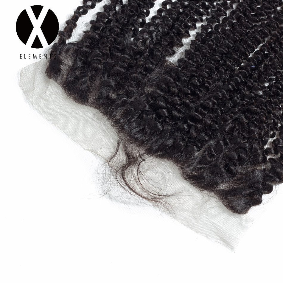 X-Elements Hair Kinky Curly 1 Piece  13*4 Lace Frontal Peruvian Non-Remy  Human Hair  Natural Color Hair Extensions