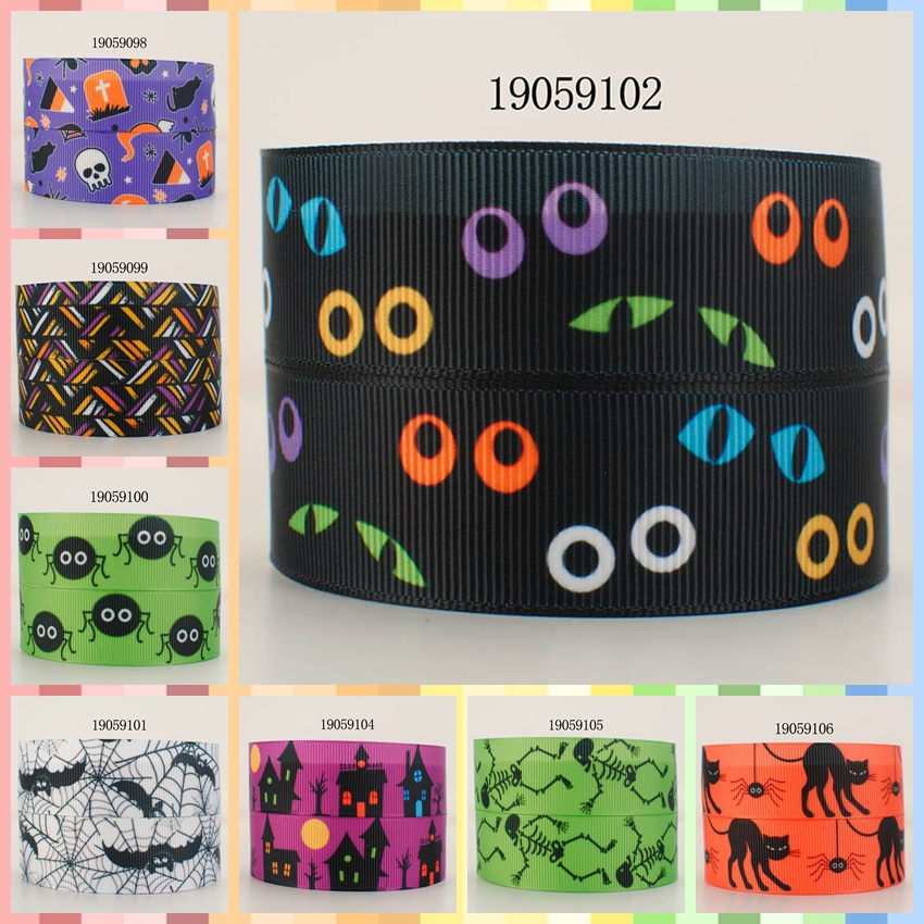 10yards -different sizes -<font><b>Halloween</b></font> party <font><b>ribbon</b></font> printed <font><b>Grosgrain</b></font> <font><b>ribbon</b></font> 19059097 image