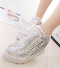 Free shipping 2015 Spring and Autumn casual shoes, high shoes increased heavy-bottomed female side zipper shoes