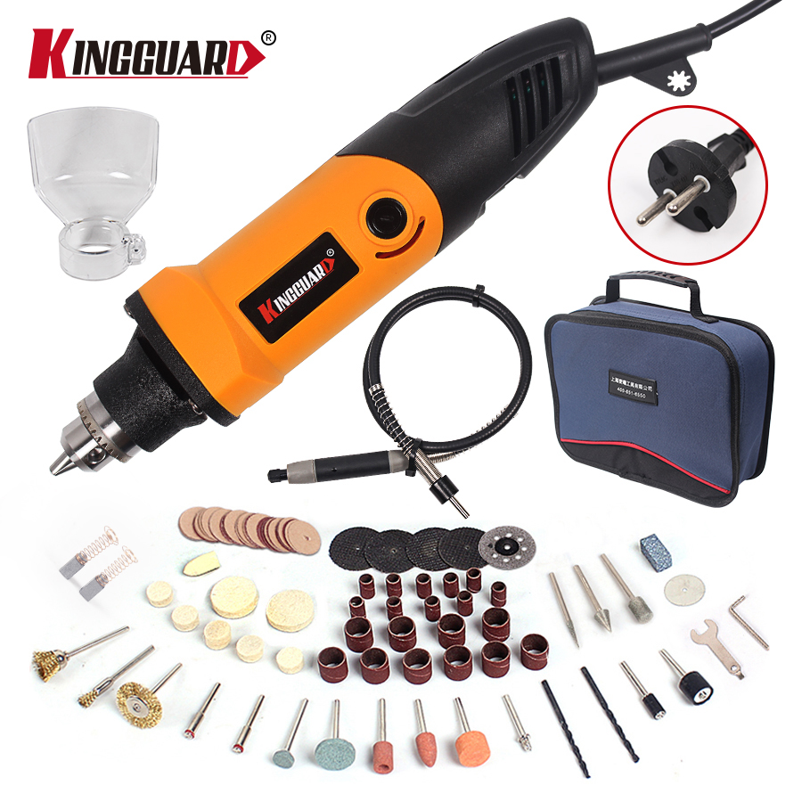 Kingguard 400W Mini Electric Drill with 6 Position Variable Speed Dremel style Rotary Tools Mini Grinder Grinding Machine 110 230v mini grinder electric dremel drill engraver regulating speed grinding machine for milling polishing dremel accessories