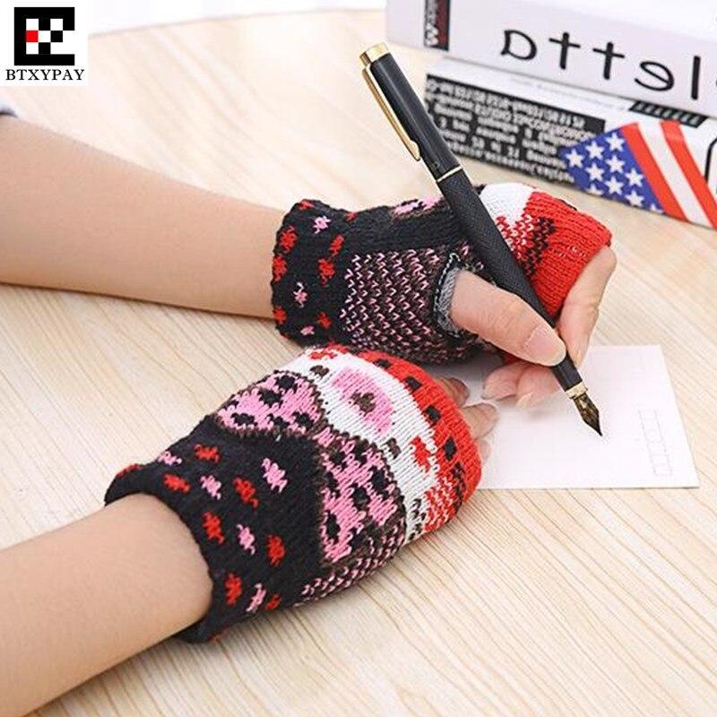 500p Winter Warm Women Boys&Girls Students Gloves,Fashion Wild Wool Knitted Floral Fingerless Half Finger Gloves Children Gloves